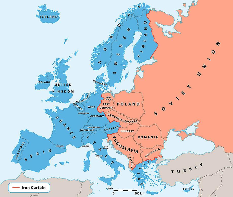 Map van het IJzeren Gordijn
