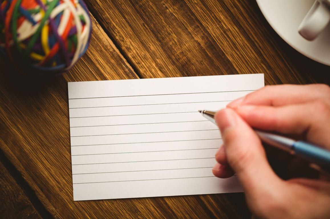 Schrijven op flashcard